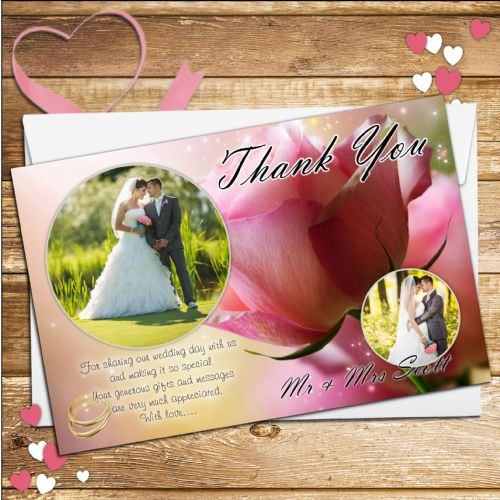 10 Personalised Sparkly Pink Rose Wedding Thank you PHOTO cards N219